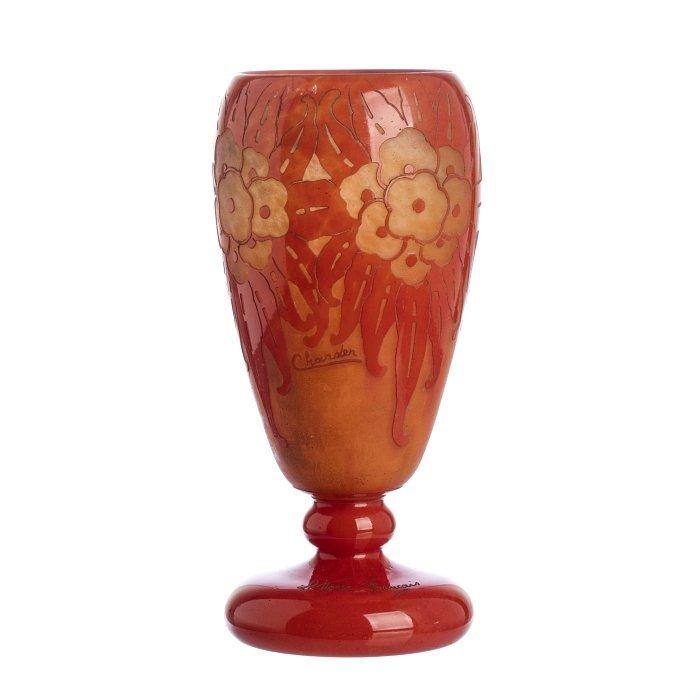 CHARDER / LE VERRE FRANÇAIS - Cameo Glass 'Sauges' Vase