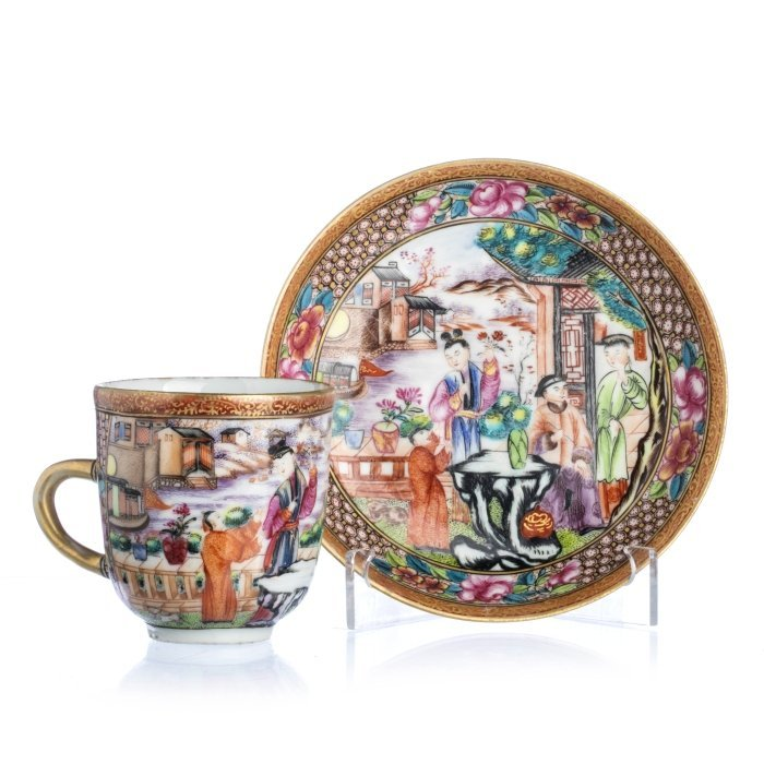 Chinese Porcelain 'Mandarin' Coffee Can and Saucer,