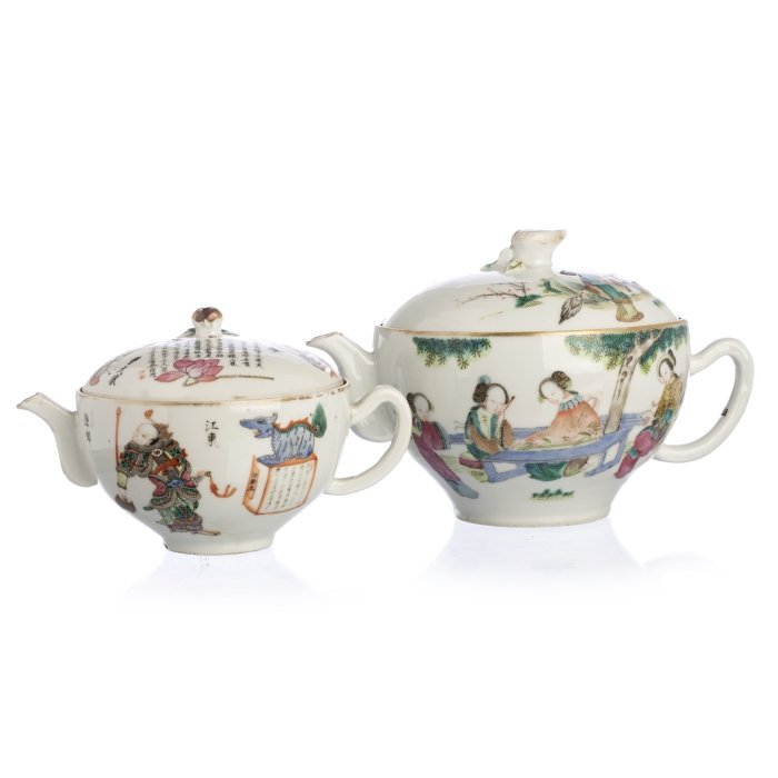 Two Chinese Porcelain Figural Teapots, Tongzhi