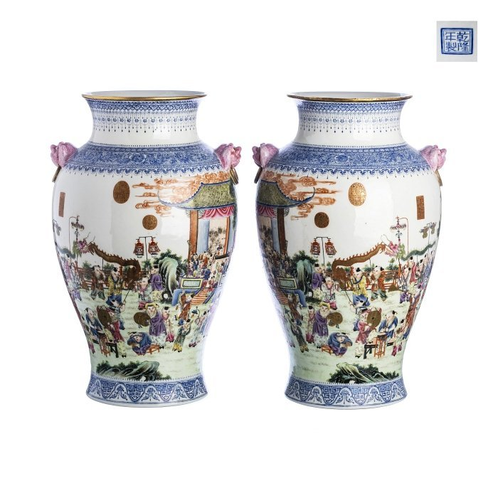 Chinese porcelain large pair of '1000 boys' vases,