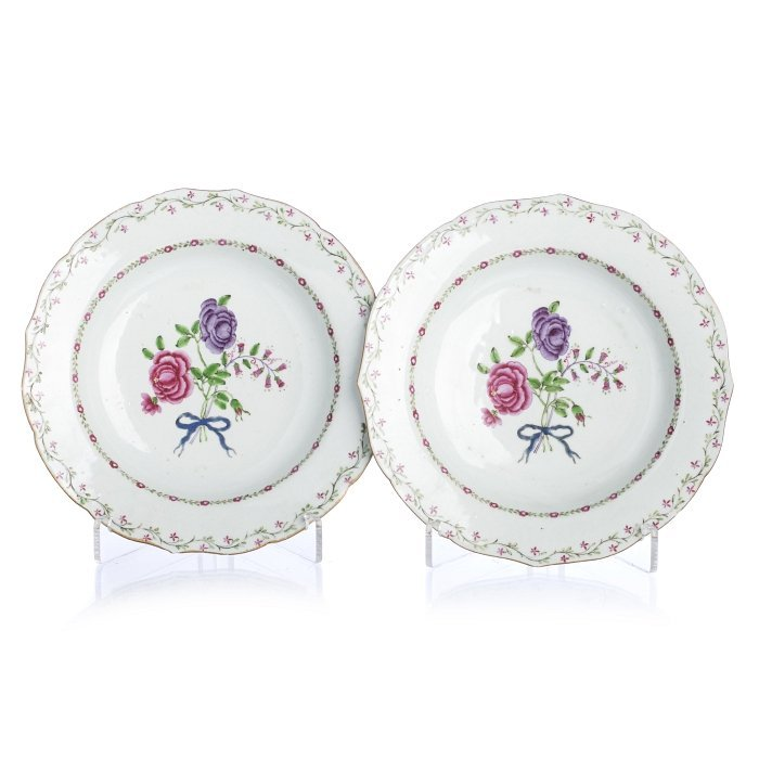 Pair of 'famille rose' deep plates, in Chinese