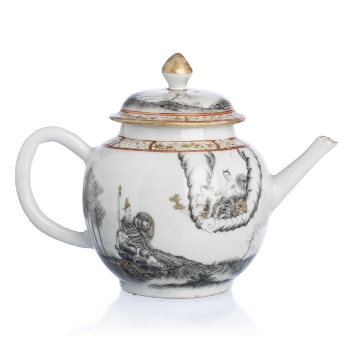 Teapot with 'Minerva protecting a warrior', Chinese