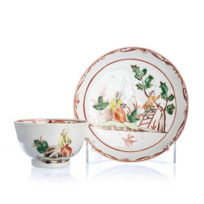 Chinese Porcelain 'Cherry Harvest' Teacup and Saucer,
