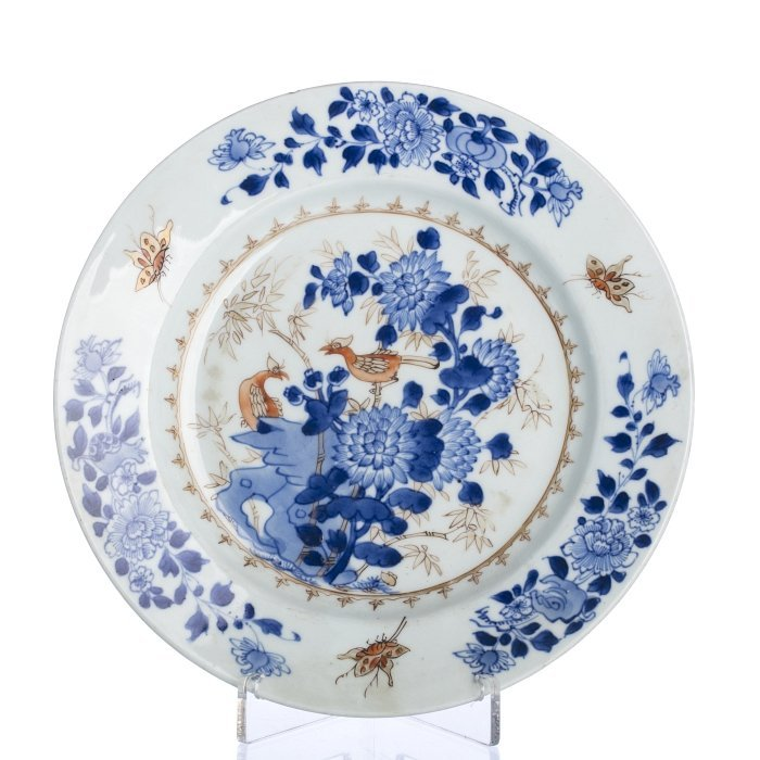 Plate with 'birds amongst the bamboo' in Chinese