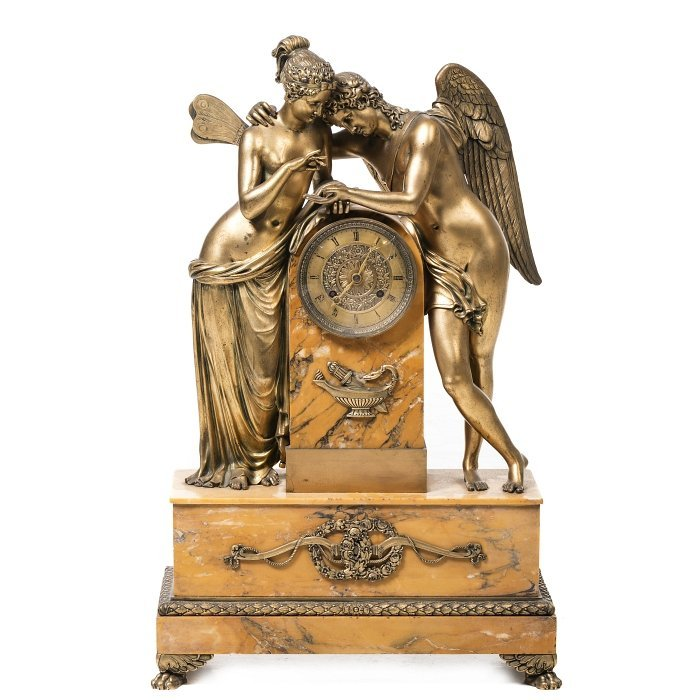 Empire Eros and Psyche table clock