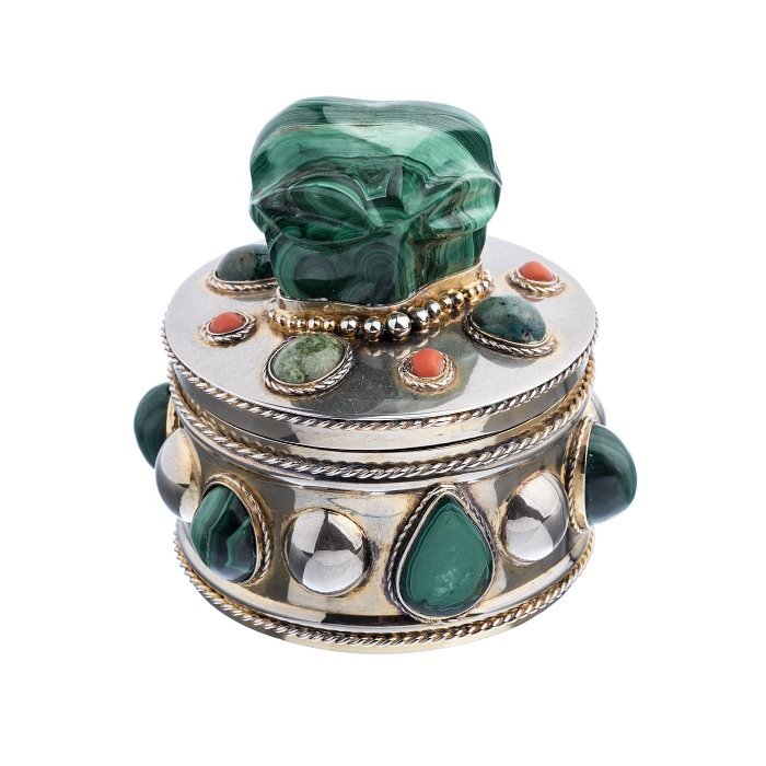 Gilt Silver box with malachite and coral