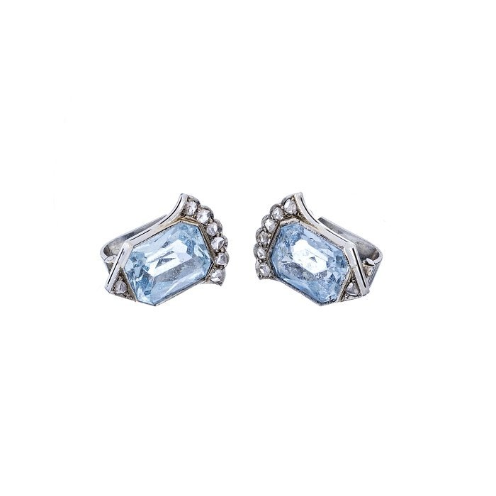 Pair of earrings Art Deco with aquamarines and diamonds