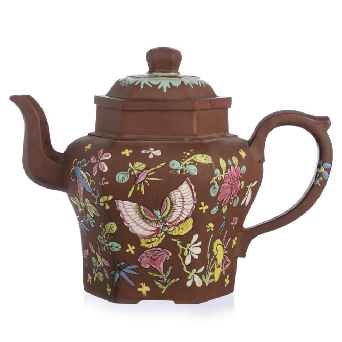 Large Chinese Yixing Ceramic 'Butterflies' Teapot