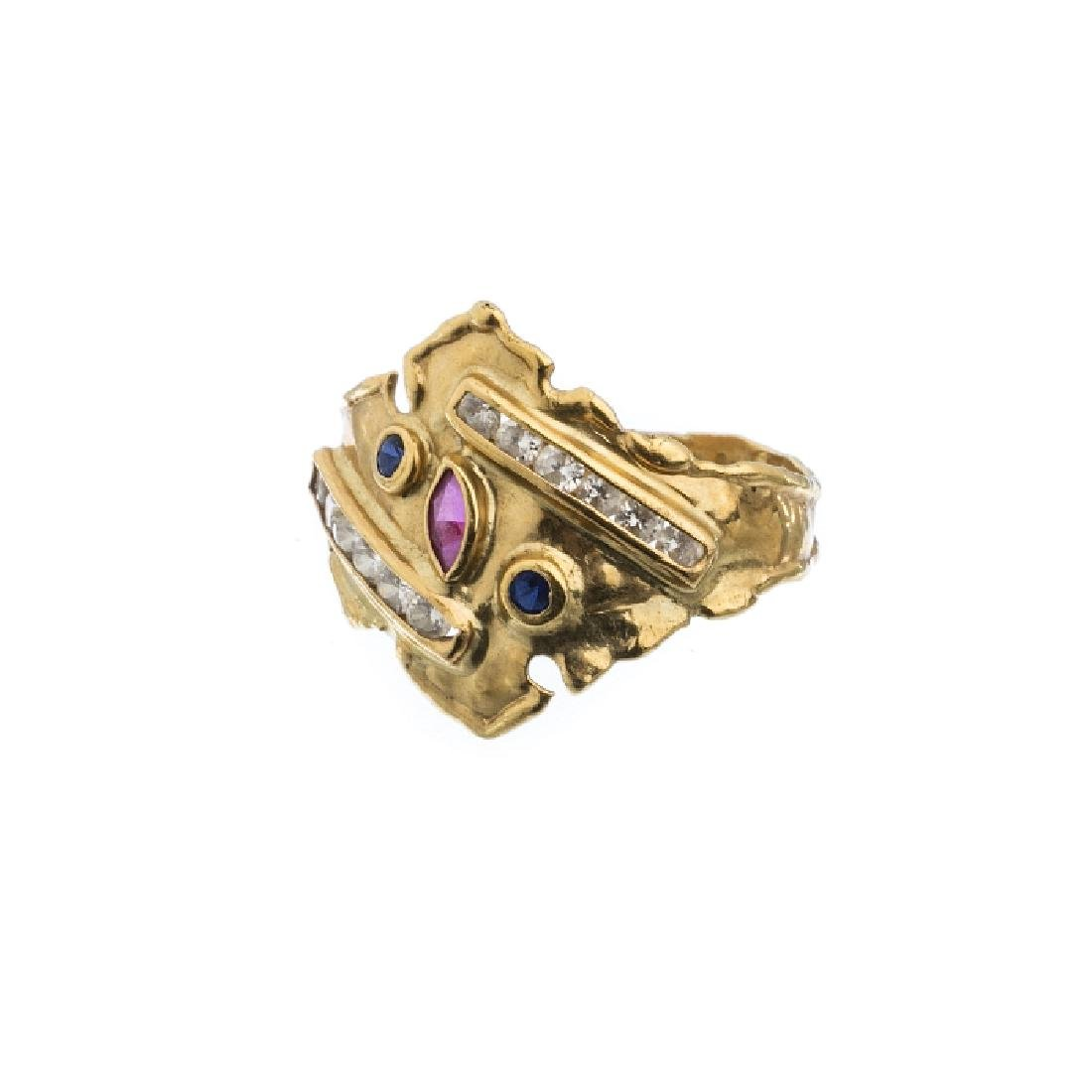 Modernist gold ring with stones