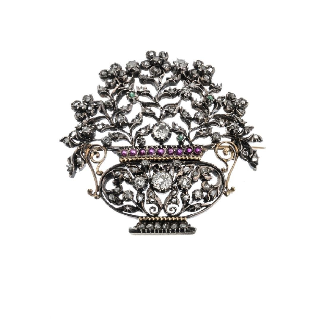 """Flower basket"" silver, gold brooch with diamonds"