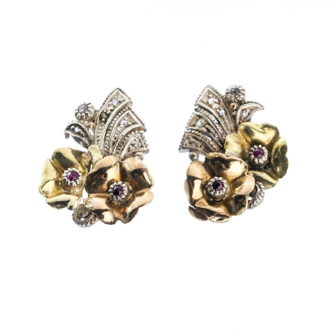 Art Deco earrings in silver and gold with diamonds and