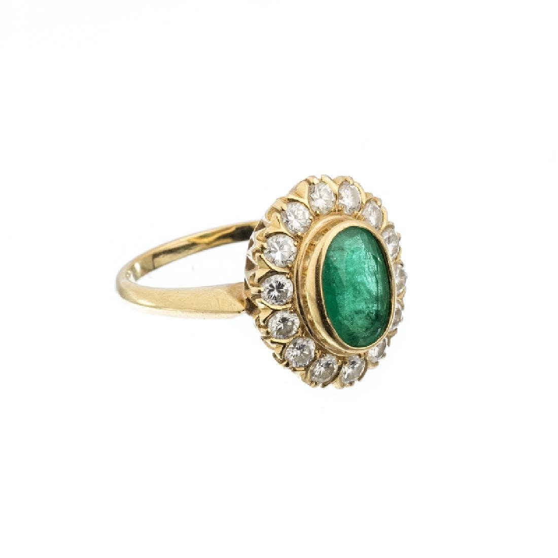 """Shower"" gold ring with emerald and diamonds"
