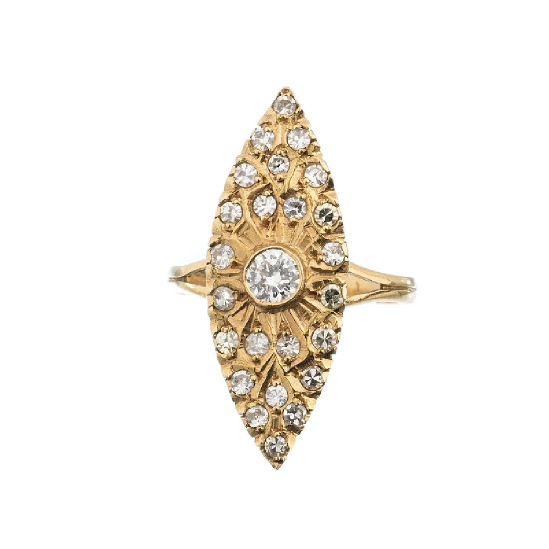 """Navette"" gold ring with diamonds"