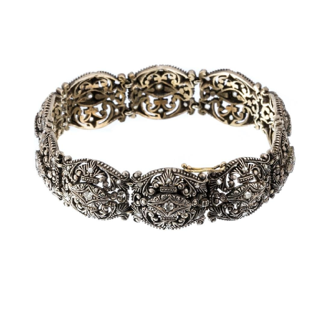 Bracelete in silver and gold with diamonds