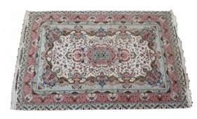 "Signed Persian Tabriz 8' x 11'7"" silk & wool rug silk"
