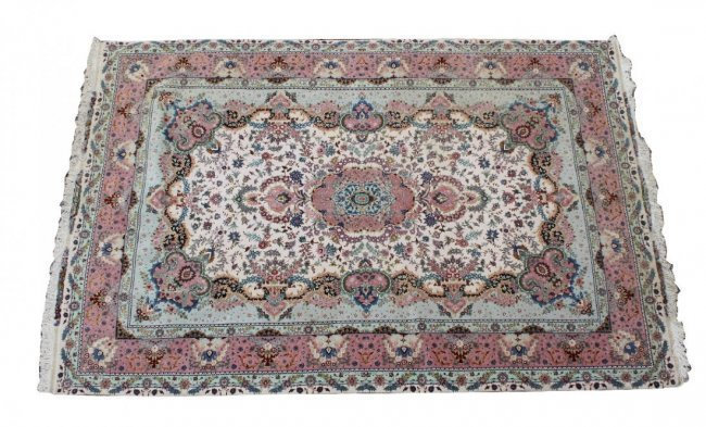 "Signed Persian Tabriz 8' x 11'7"" silk & wool rug silk"