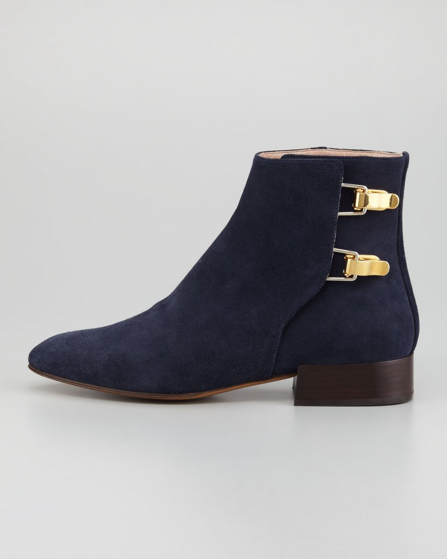 size 38 Chloé Double Buckle Ankle Boot Navy Suded