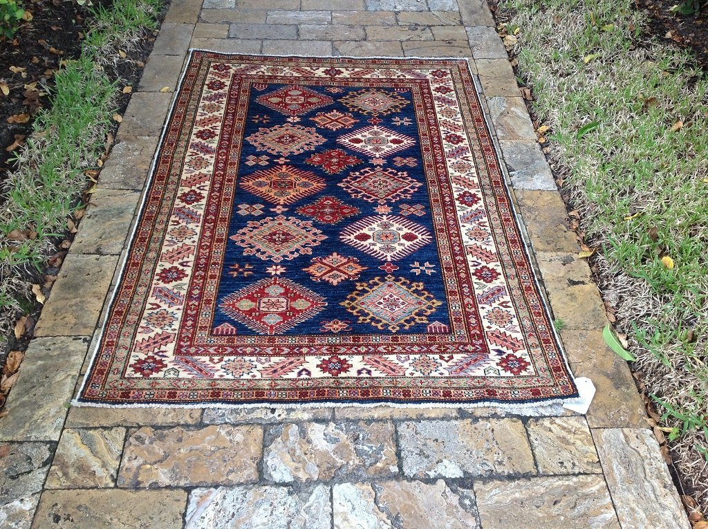 kazak rug wool 3 ft 11 in x 5 ft 9""
