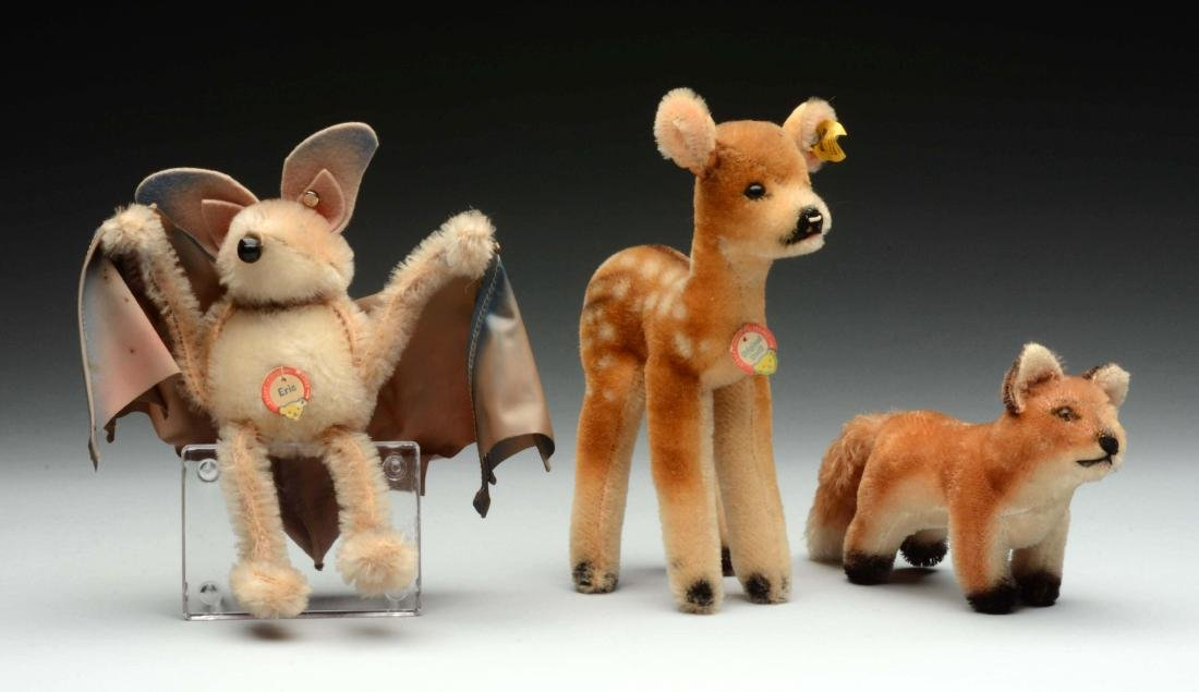 Lot of 3: Rare Early And Original Steiff Eric The Bat