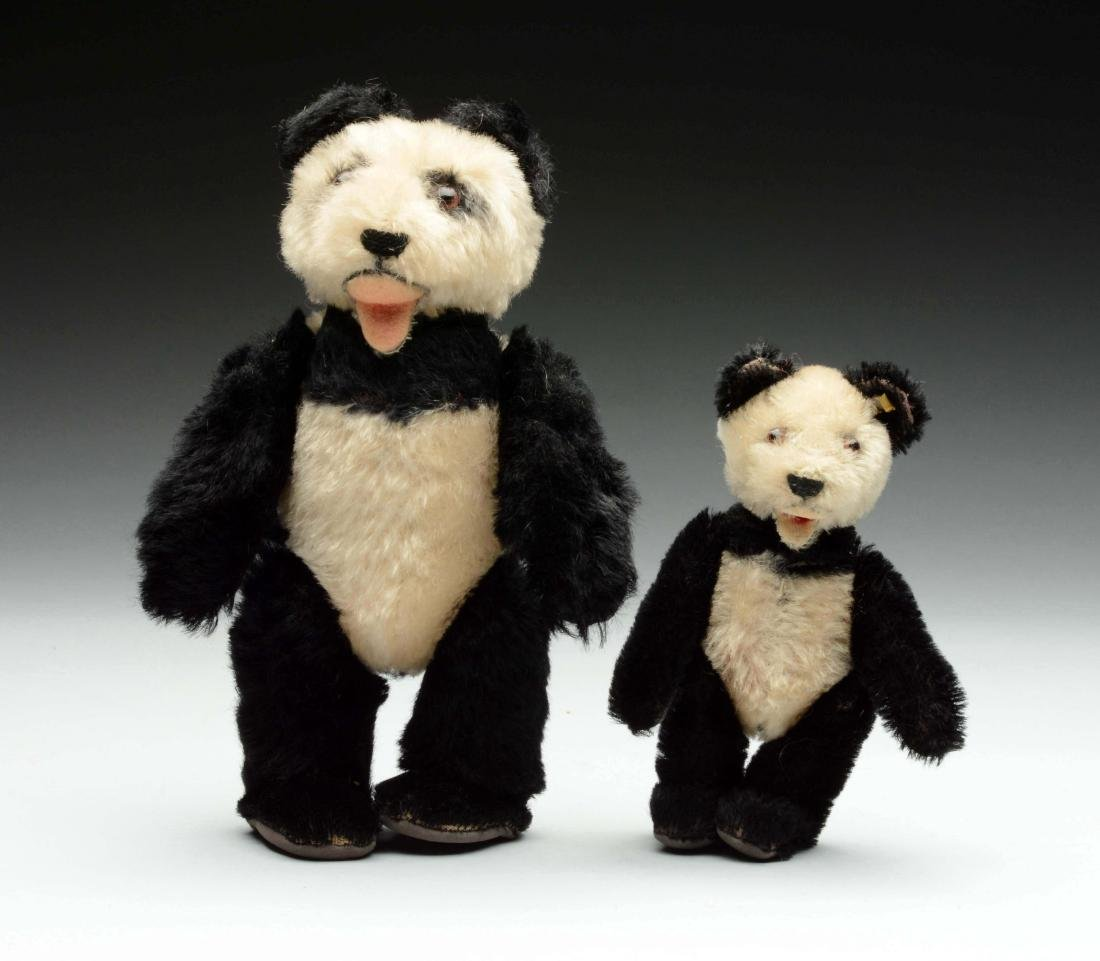Pair Of Two Mohair Panda Bears With IDs.
