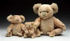 Family Of Three Mohair Steiff Koala Bears With IDs.