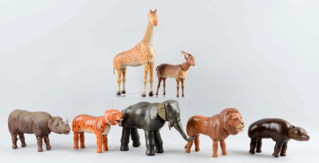 Lot Of 7: Full Sized Schoenhut Wild Animals. - 2