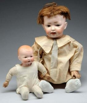 Lot of 2: German Bisque Head Babies.