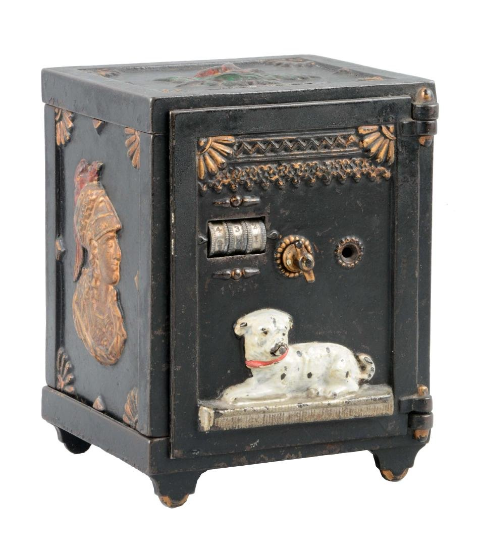 J. & E. Stevens Cast Iron Watchdog Safe Still Bank.