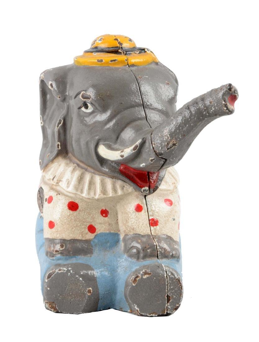 Hubley Cast Iron Seated Elephant Still Bank.