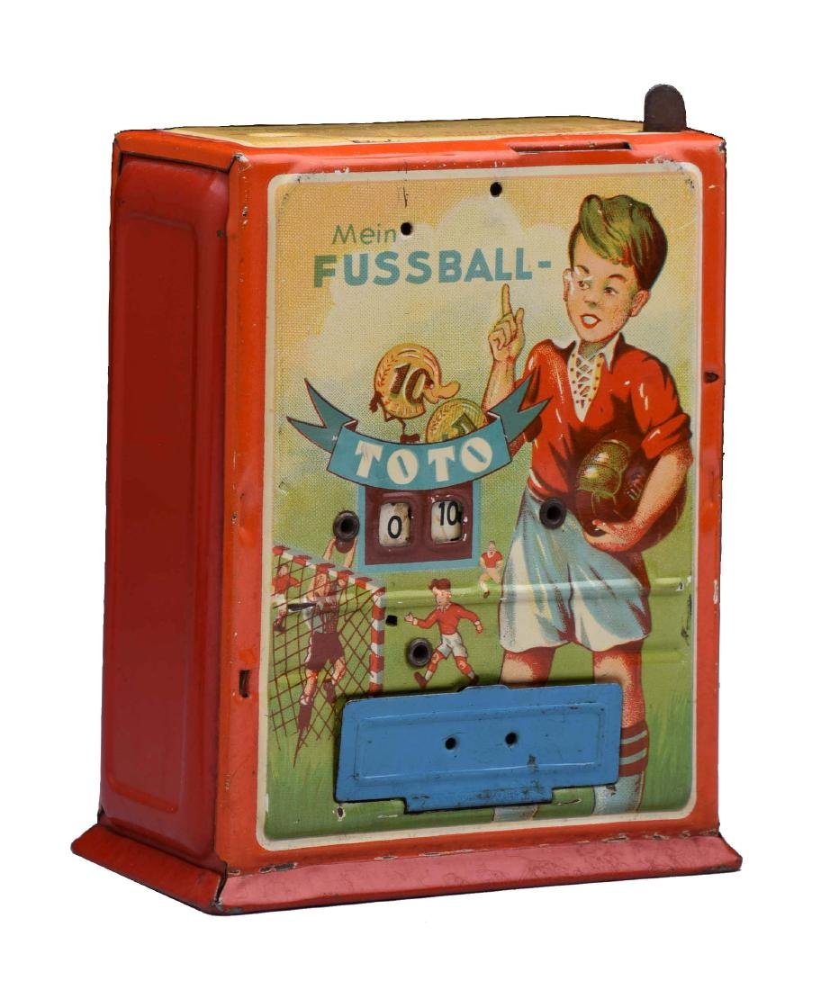 Tin Mein Foosball Mechanical Bank.