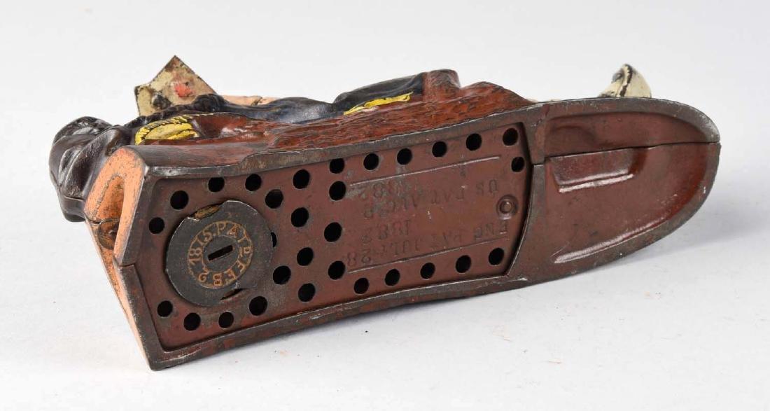 J. & E. Stevens Cast Iron Reclining Chinaman Mechanical - 3
