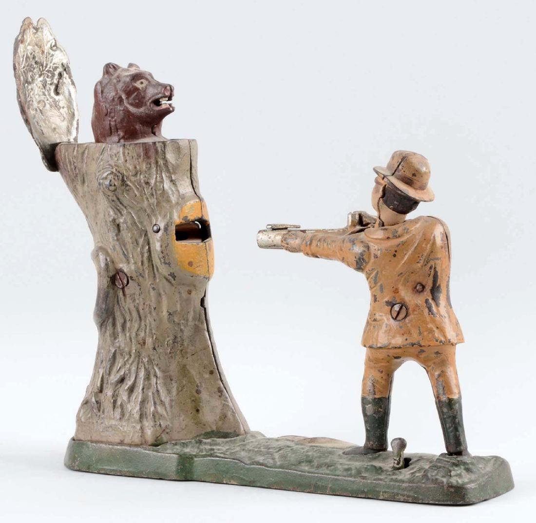 J. & E. Stevens Cast Iron Teddy & Bear Mechanical Bank. - 2