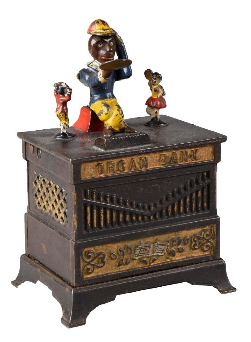 Kyser & Rex Cast Iron Organ, Boy & Girl Mechanical