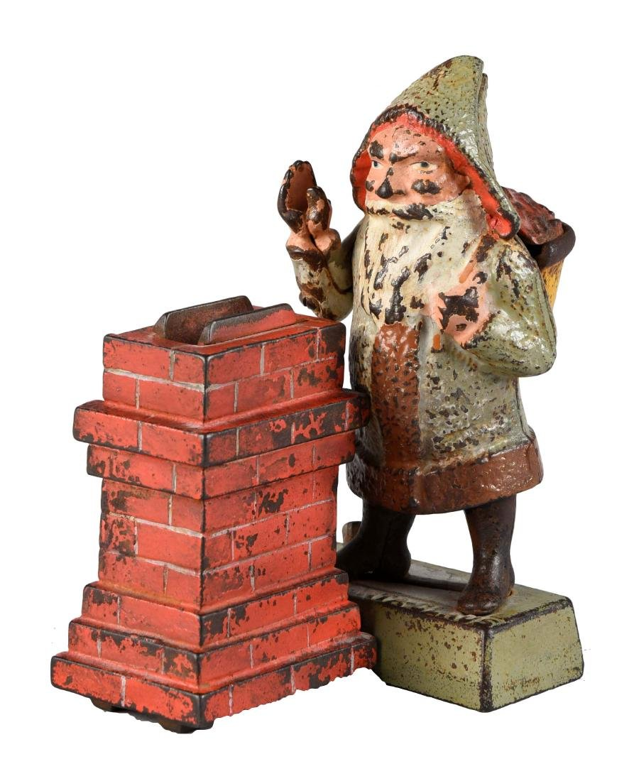 Shepard Hardware Cast Iron Santa Claus Mechanical Bank.