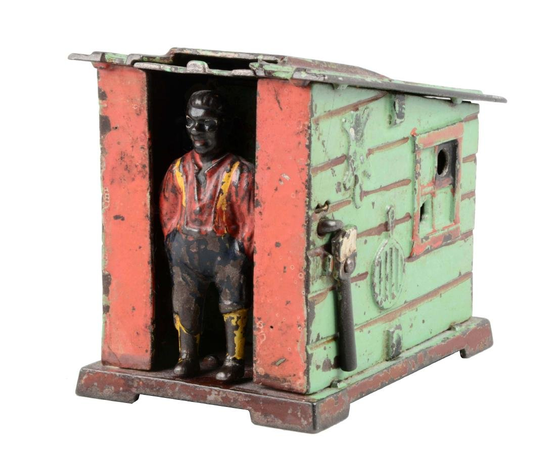 J. & E. Stevens Cast Iron Cabin Mechanical Bank.