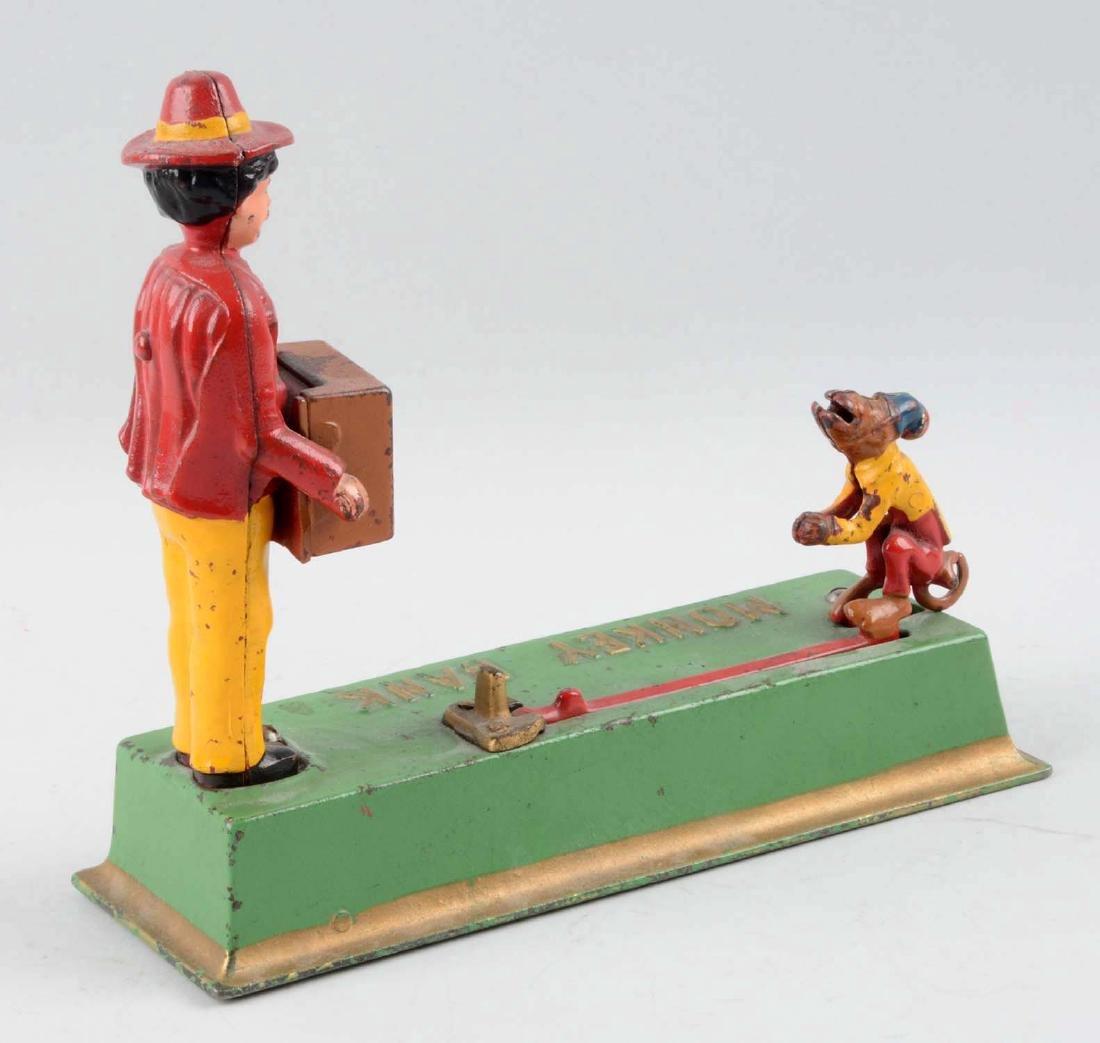 Hubley Cast Iron 1933 Monkey Bank Mechanical Bank. - 2