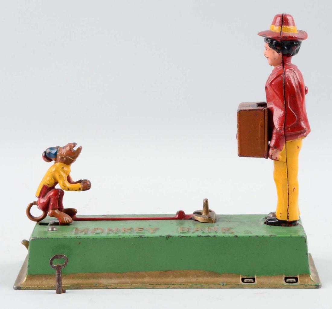 Hubley Cast Iron 1933 Monkey Bank Mechanical Bank. - 3