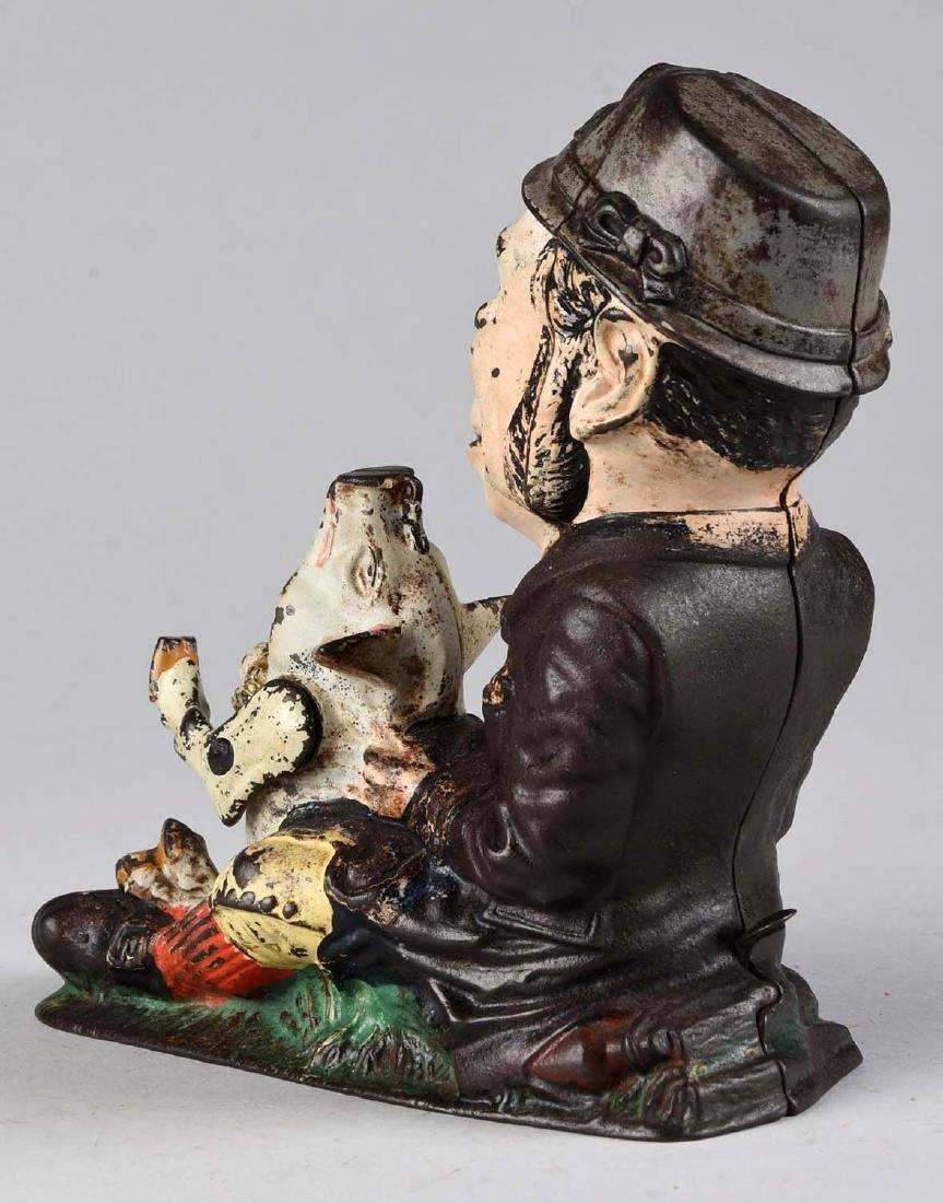 J. & E. Stevens Cast Iron Paddy & Pig Mechanical Bank. - 2
