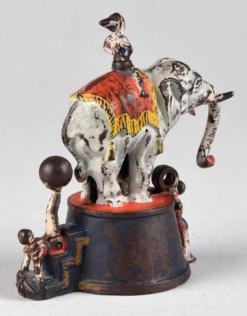J. & E. Stevens Cast Iron Elephant and Three Clowns - 2