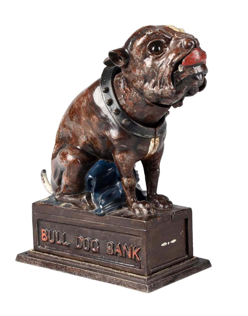 J. & E. Stevens Cast Iron Bulldog Mechanical Bank.