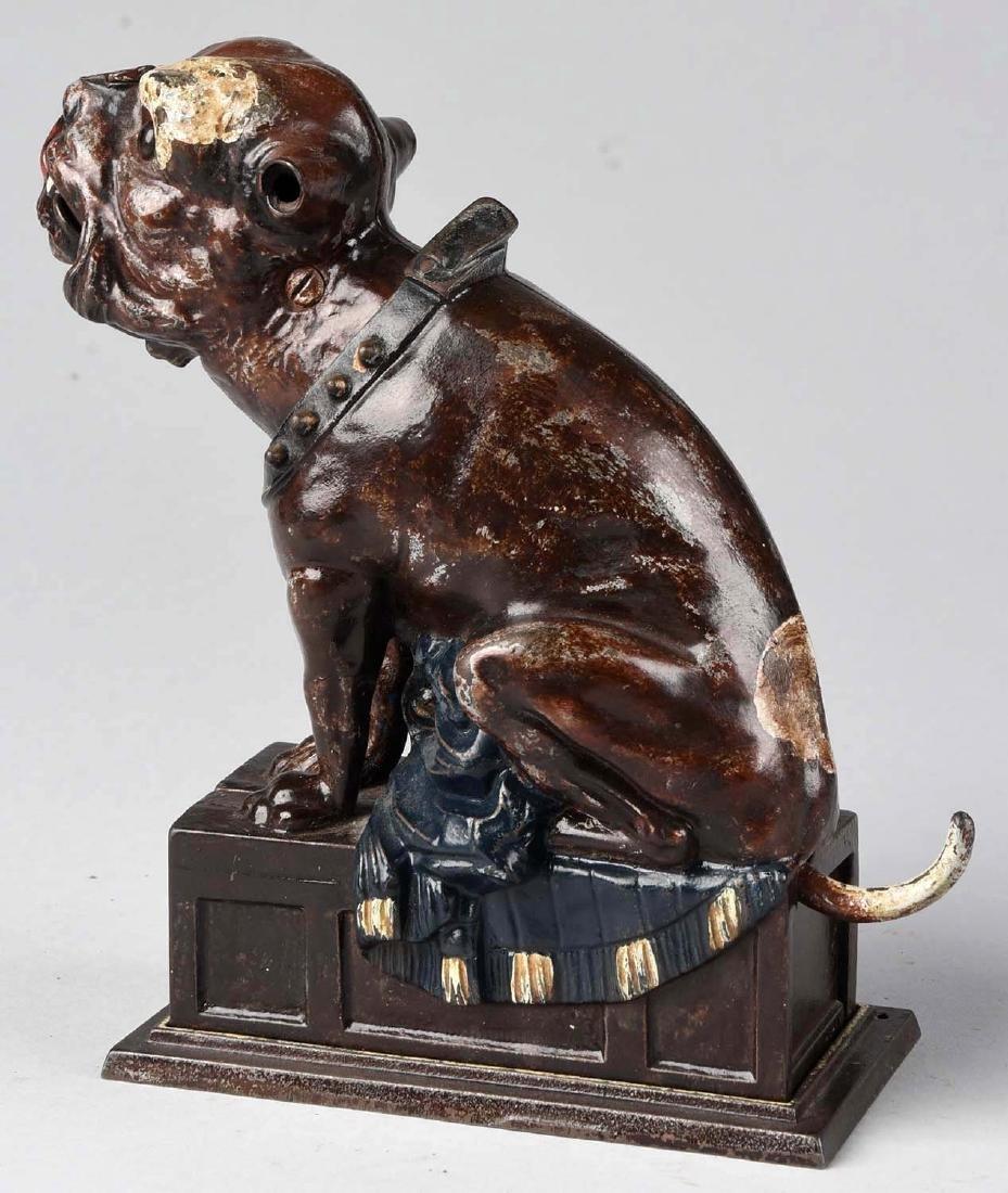 J. & E. Stevens Cast Iron Bulldog Mechanical Bank. - 2