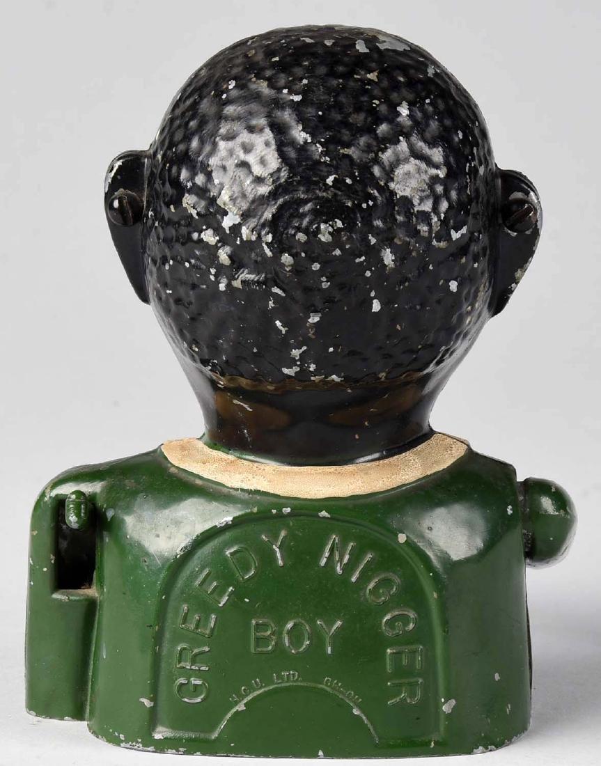 Cast Aluminum Greedy N Boy Mechanical Bank. - 2