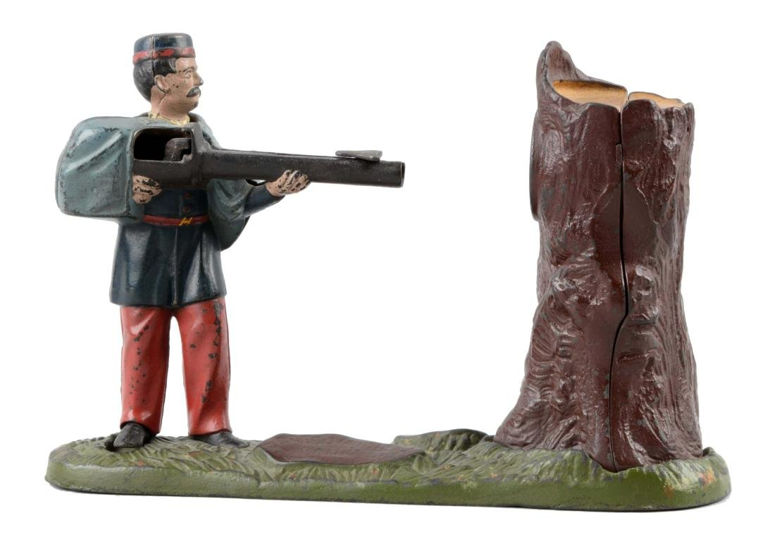 J. & E. Cast Iron Creedmoor Mechanical Bank.