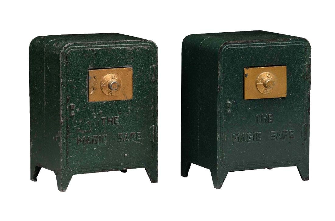 "Lot of 2: Cast Aluminum ""Magic Safe"" Banks."