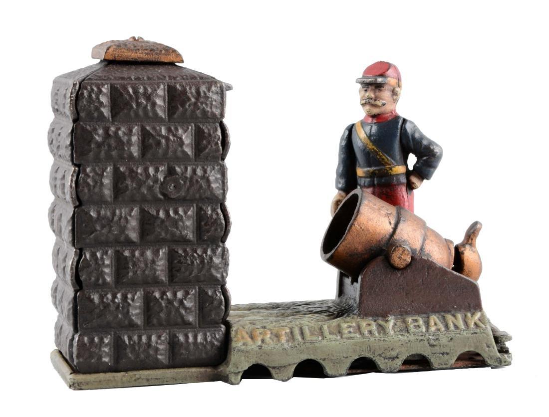Cast Iron Artillery Mechanical Bank.