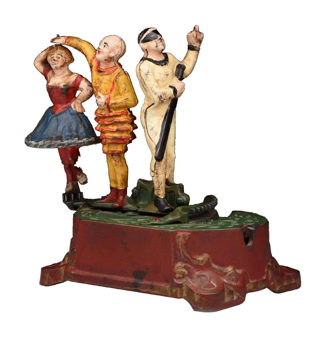 Cast Iron Clown, Harlequin & Columbine Mechanical Bank