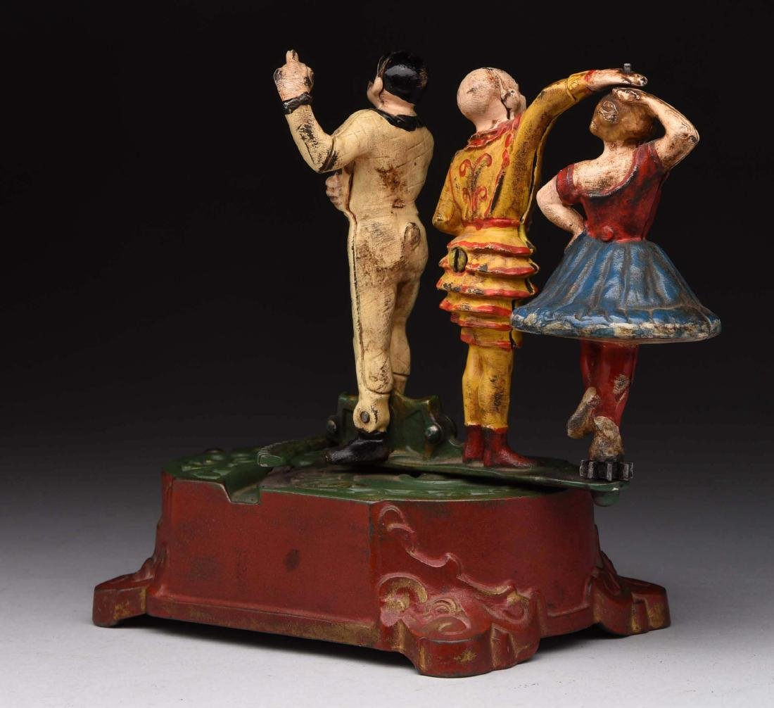 Cast Iron Clown, Harlequin & Columbine Mechanical Bank - 2