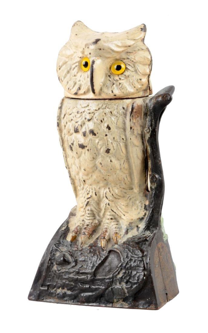 J. & E. Stevens Cast Iron Owl Turns Head Mechanical