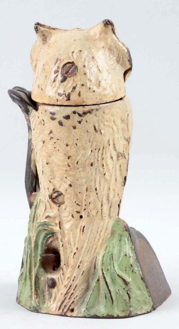 J. & E. Stevens Cast Iron Owl Turns Head Mechanical - 2