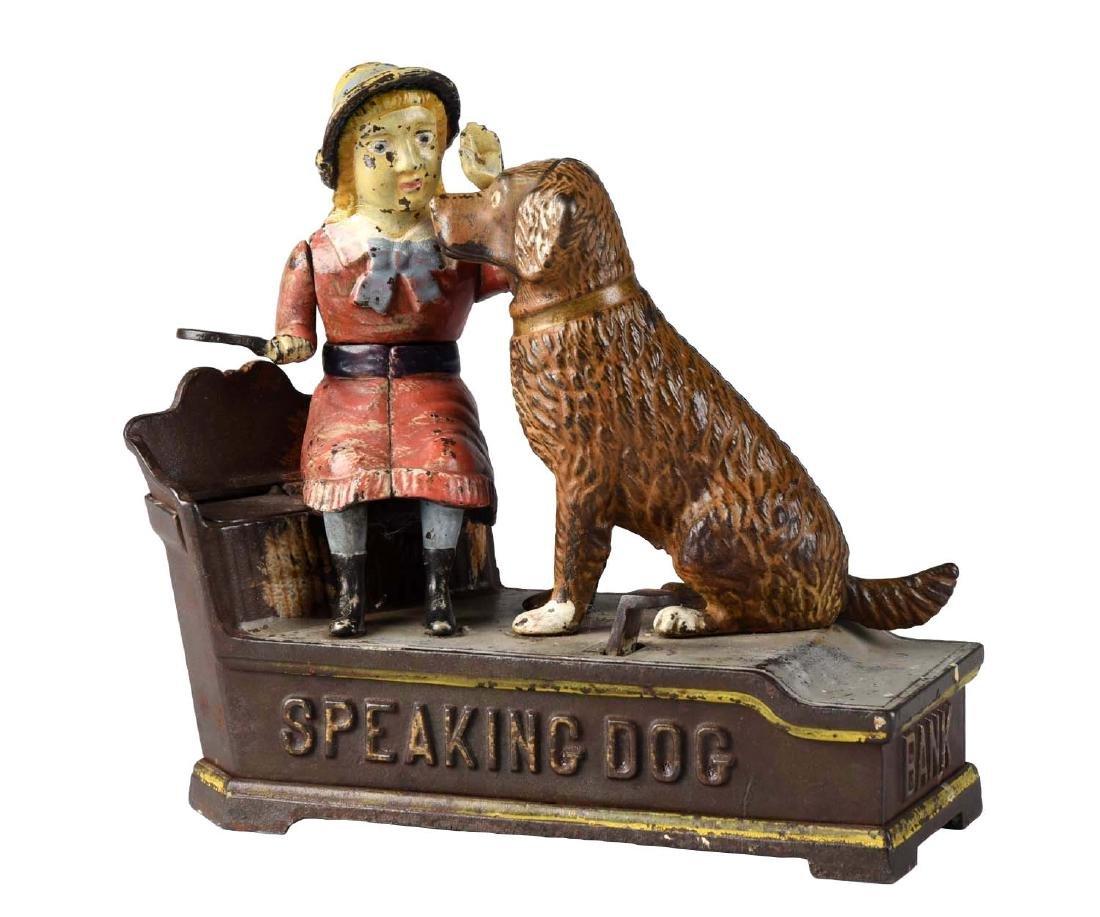 J. & E. Stevens Cast Iron Speaking Dog Mechanical Bank.